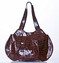 Angelo Cuore  Alligator Pleated Hobo